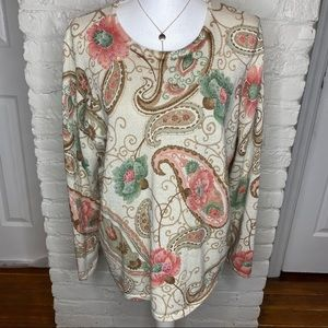 Alfred Dunner Floral Sequined Long Sleeve Top XL
